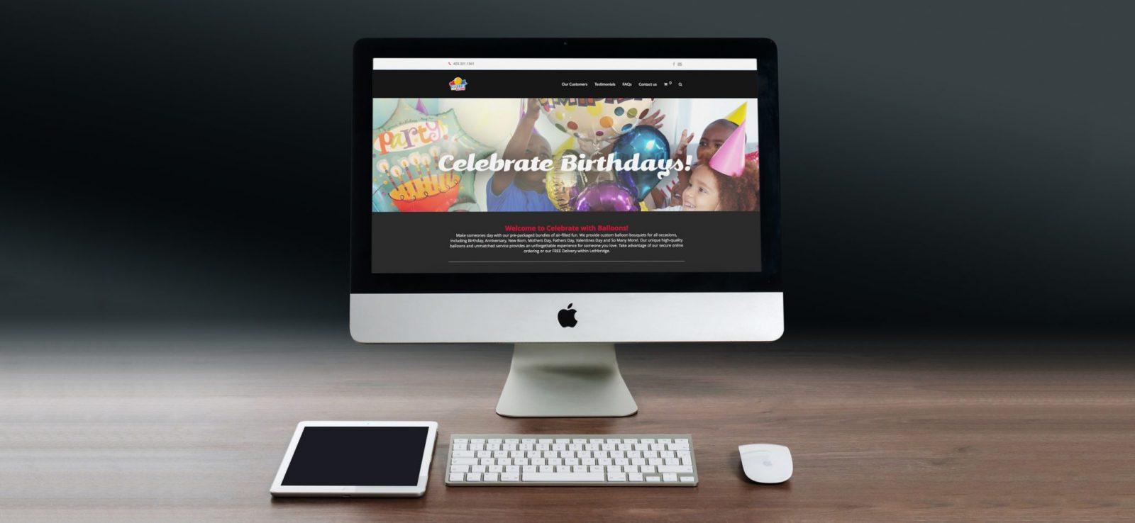 Celebrate With Balloons - Web Banner Design - Lethbridge Alberta